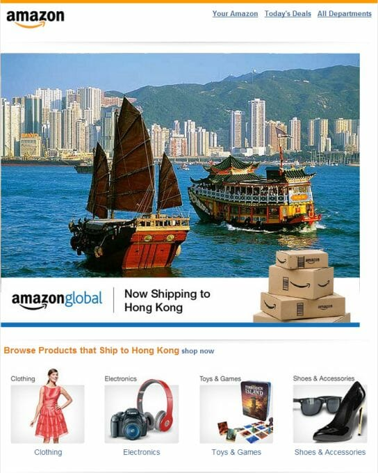 amazon ship to Hong Kong