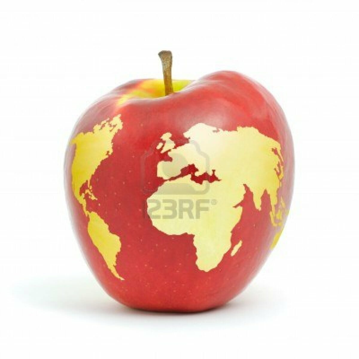 red apple world map on white background