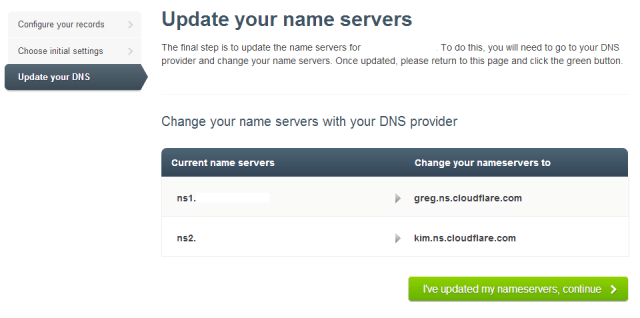 Cloudflare change name server