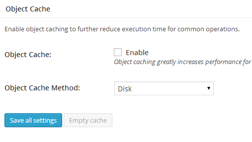 W3TC General Settings Object Cache