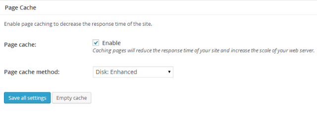 W3TC General Settings Page Cache