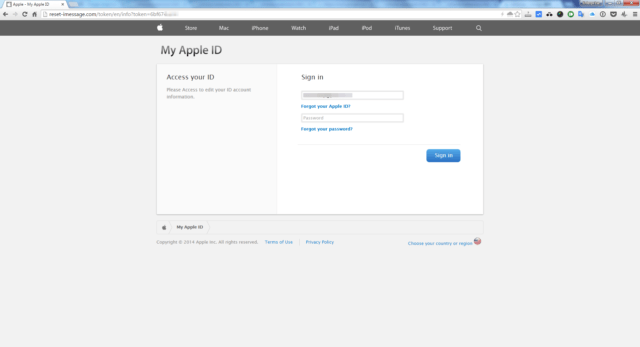 fake apple web sign in