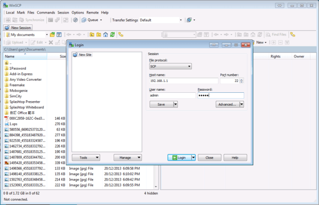 winscp connect information